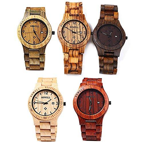 FunkyTop Herren Business Armbanduhren 100% Natürlich Holz Analog Quarzwerk mit Kalender Display Holz Uhr