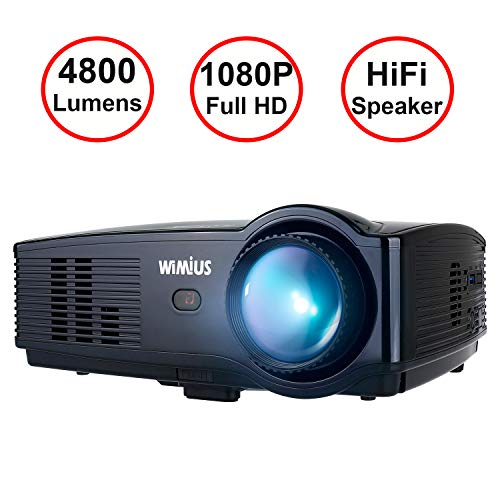 Beamer, WiMiUS T4 4800 Lumens Full HD Video-Beamer unterstützt 1080P 200' Display 50000 Stunden LCD Beamer, Kompatibel mit Amazon Fire TV Stick Laptop Smartphone Xbox über HDMI USB VGA AV