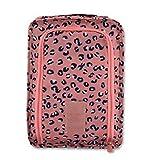 NOVAGO Housse chaussure,matière imperméable, idéal accessoire pour les voyages (leopard rose)
