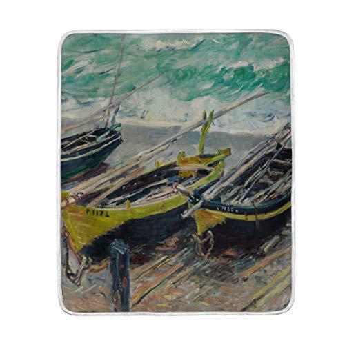Ahomy weiche warme Decke, Monet Ölgemälde, DREI Angelboote, Reisegröße 127 x 152 cm, für Stuhl oder Bett