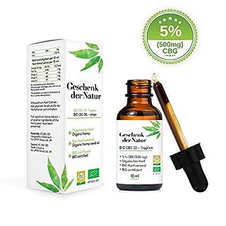 Geschenk der Natur Bio 500 mg CBG Öl-Tropfen, Vollspektrum mit 5 % Hanfextrakt, 10 ml