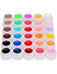 Anself 30 Couleur Nail Art Pigment à Ongle Set UV Gel Colle Solide