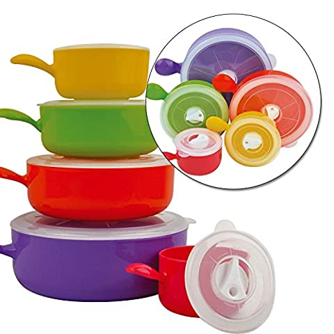 Top Home Solutions 10pc Coloured Microwave Food Cooking Bowls Set With Lids Pot Pan Containers