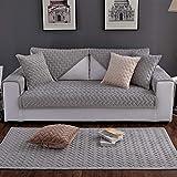 Liveinu Fleece Plüsch Warm Matte mit Anti-Rutsch Gesteppt Sofaüberwurf Sesselschutz Spielmatte Japanischer Tatami Teppich Für Fußboden Sofa und Bett 70x180cm Grau