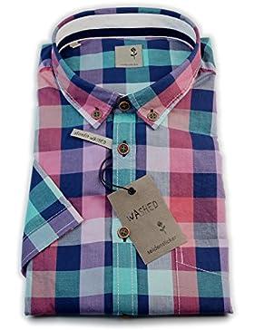 Seidensticker Herren Kurzarm Hemd Schwarze Rose Slim Fit washed Button-down blau / grün / rot kariert mit Patch...
