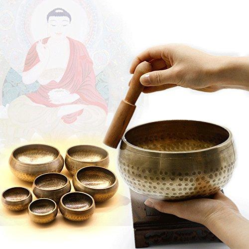 Bluelover 95 Tibétain Bouddhiste Chakra Yoga Résonance Bol Chantant En Laiton Guérison Méditation Martelé Bâton