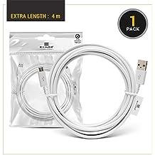 EXINOZ® 4m Ladekabel für PS4 Dual Shock und Xbox One Controller | Perfekte Länge USB Kabel für Playstation 4 und Xbox | Qualitativ-hochwertiges Kabel mit 1 Jahr Umtauschgarantie (White)