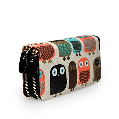 Très Chic Mailanda Geldtasche Eule Geldbeutel Tasche Portemonnaie umlaufende Reißverschlüsse mit Design Eulen groß für Damen (Eule)