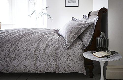 Bianca 100% Cotton Soft Sprig Jacquard Duvet Quilt Cover Set, Grey