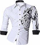 Jeansian Herren Freizeit Hemden Lion Tattoo Printing Long Sleeves Slim Fit Dress Men Shirts Tops Z030 White XL [Apparel]
