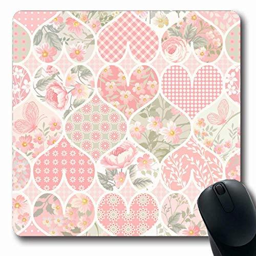 Mousepads Pink Quilt Patchwork Pattern Pastellfarben Abstrakt Schmetterling Blume Herz Floral Rose Design Längliche Form rutschfeste Gaming Mouse Pad Gummi Längliche Matte,Gummimatte 11,8