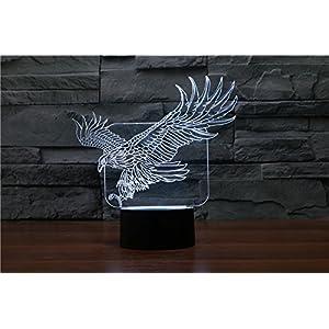 HYSENM Nachtlicht Nachtlampe 3D Deko LED Acryl für Schlafzimmer Tiere-Serie, Adler