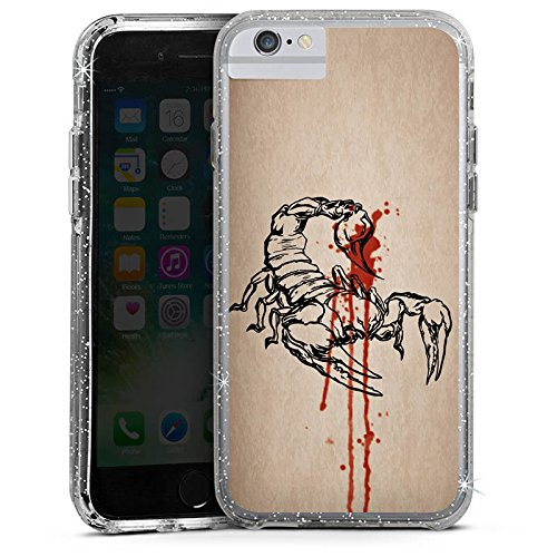 Apple iPhone 6 Plus Bumper Hülle Bumper Case Glitzer Hülle Skorpion Scorpion Halloween Bumper Case Glitzer silber