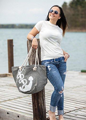 styleBREAKER Borsa da spiaggia Nero nero-bianco taglia unica Creme-Marine