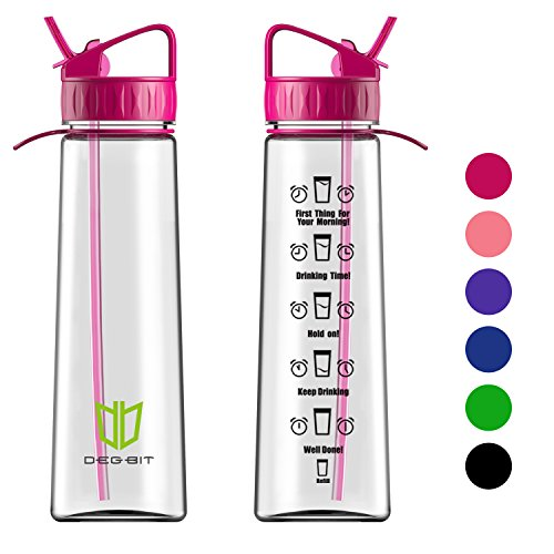 Water Bottle, Degbit [900 ml/ 32oz] BPA Free Sports Water Bottle with Straw + Time Markings, Non-Leak, Eco Friendly Durable Tritan Cycle Water Bottles Plastic drinks bottle for Outdoors and Camping (Red)