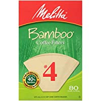 Melitta Bamboo Coffee Filters, Bamboo No 4, 80-Count Boxes (Pack of 6)