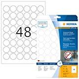 Herma 4571 Wetterfeste Folienetiketten rund, ablösbar (ؘ 30 mm) weiß, 960 Aufkleber, 20 Blatt A4 Klebefolie matt, bedruckbar, selbstklebend