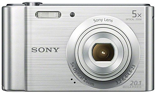 Sony DSC-W800 20.1 MP Point and Shoot Digital Camera with 5x Optical Zoom (Silver) + Memory Card + Camera Case