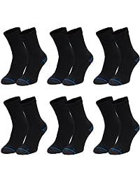 6 Paar Reflexx Socken. Ideale Sportsocken, Wandersocken oder Arbeitssocken. Damensocken oder Herrensocken überwiegend Baumwolle, mit verstärktem Frotteefuß (6er Pack 43/46, Schwarz 6er Pack)