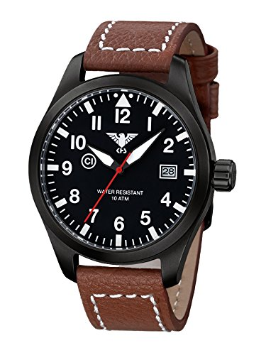 KHS Mens Watch Airleader Black Steel KHS.AIRBS.LB5
