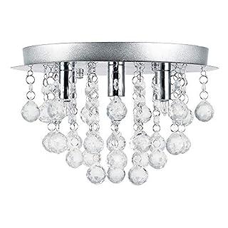 Lüster Deckenleuchte/Deckenlampe - Trio - von [lux.pro] - Modernes Design: Kron-leuchter aus Chrom, Metall & Kunst-Kristall - Ø 28 cm Leuchte - 3 x G9 Sockel - für Wohnzimmer & Schlafzimmer