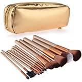 Set 12 Pennelli per Make Up Ombretti Blush Fard Professionali con Portapennelli