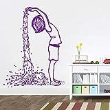 Adesivi murali in vinile per ragazza che fanno cascata Adesivi creativi per camera da letto Decorazioni per l'arte Carta da parati decorativa per pareti da bagno impermeabile 888-5 M 77 cm x 56 cm