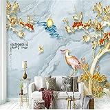 Hwhz Tapete Gewohnheit DesModernen Wohnzimmer3DHintergrundwandgemälde Neue Chinesische Malerei Geschnitzte Vögel Blüht Tapete-150X120Cm