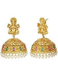 MUCH MORE Indian Traditional Polki Earring With Laxmi Mata Temple Jewellery For Women's