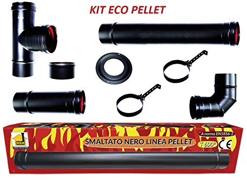 Kit eco stufa a pellet tubi 80 mm tubo acciaio nero smaltato resistenti 600 ce made in italy canna fumaria porcellanata