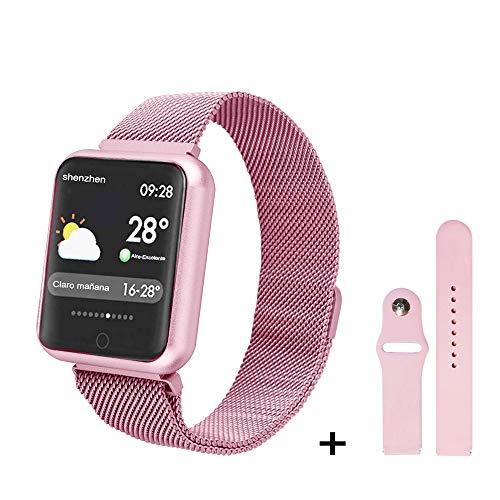 Imagen de soloking pulsera actividad impermeable ip68 con 8 modes de ejercicio,podometro,pulsómetros,monitor de dormir,pulsera reloj inteligente para hombre,mujer,niño rosa