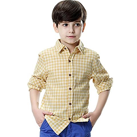 KID1234 Boys' School Uniform Autumn Long-Sleeve Plaid Cotton Flannel Shirt