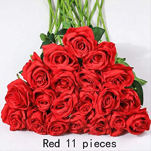 JHZHK 11 stücke Rose künstliche Rose Blume hochzeitsdekoration Seide Garten Zweig Blatt Blume Dekoration der Hotel Schlafzimmer vaseBurgund (Brautsträuße Burgund)