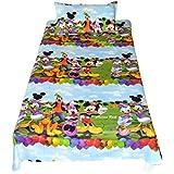 Mahi Fashion Premium Cotton Kids Bed Sheet Baby Bed Sheet Single Bed Sheet With 1 Pillow Cover Satin Fabric Procian Printing (Mickey Mini)