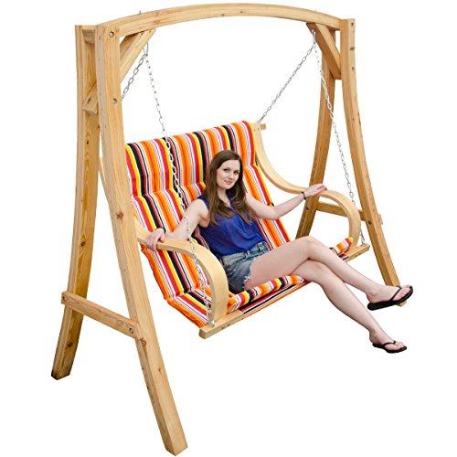 Sensational Garden Patio Swing Wooden Swing Set 2 3 Seater Hanging Bench Alphanode Cool Chair Designs And Ideas Alphanodeonline