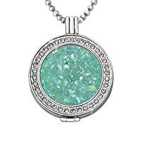Quiges - 33mm Silver Plated Zirconia Coin Locket with Necklace and Coin #12