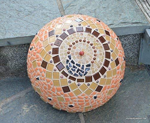 Handgemachte Dekohalbkugel beige braun orange 31 cm Mosaik Rosenkugel