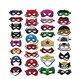 Superhelden Masken, 32 Stück Kinder Masken Halbe Augenmasken für Kinder Erwachsene Partytasche Füller Filzmaske mit Verstellbarem Elastischem Seil von 3 +