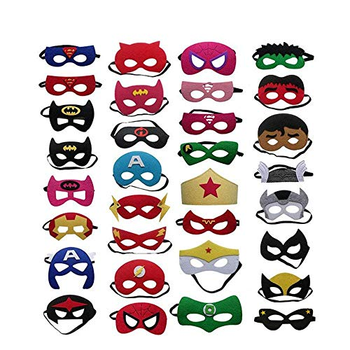 Superhelden Masken, 32 Stück Kinder Masken Halbe Augenmasken für Kinder Erwachsene Partytasche Füller Filzmaske mit Verstellbarem Elastischem Seil von 3 ()