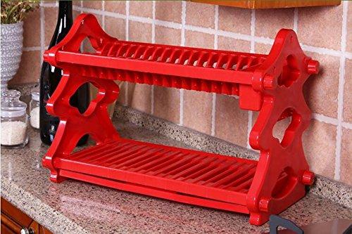Kitchen shelf. CGN Platte Lagerregal, Mode Einfaches Fach Ablauf Küche Regal Sparen Platz Zwei Etagen Kunststoff Bunte Multifunktionsgröße: 52 * 28,5 * 35 cm (Farbe : Rot) (Gewürz-fach Holz)