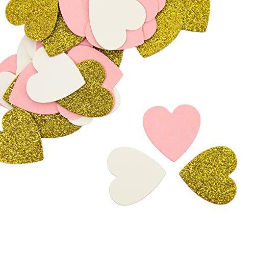 ier Konfetti 36 STK. Rosa Schwarz Weiß Gold Silber mit Glitzereffekt als Tisch Streu Deko für Geburtstag Party Feier Hochzeit JGA Herzen Sterne Kreise - Formen wählbar (Gold-Herz) ()