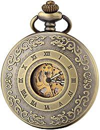 SEWOR Vintage bronce Hollow reloj de bolsillo mecánico automático auto viento Dial luminoso