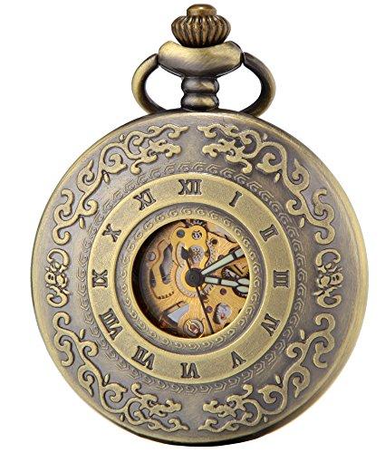 SEWOR Classic Skeleton Movement Automatic Mechanical Self Wind Pocket Watch (Bronze)