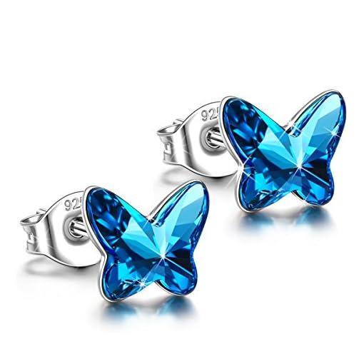 e4b437a184f4 ANGEL NINA Pendientes Collar Mariposa Mujer 925 Plata con Cristales ...