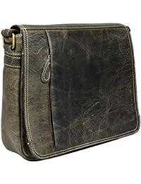 Adimani® Leather Sling Messenger Bag (Grey)