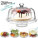 Masthome 6-in-1 Multifunktionaler Kuchenteller,31,5 cm Küche Salatschalen & Chip-Dip-Servierer mit Kuppel für Hochzeit Party