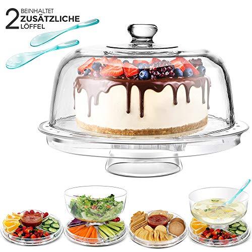 Masthome 6-in-1 Multifunktionaler Kuchenteller,31,5 cm Küche Salatschalen & Chip-Dip-Servierer mit Kuppel für Hochzeit Party (Mit Deckel Tortenplatte)