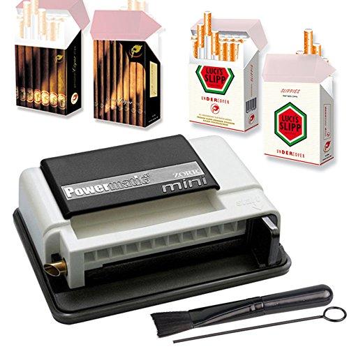Powermatic Mini Plus Zigarettenstopfmaschine inkl. 2X Zigarettenschachtel-Hüllen Stopfmaschine der Extraklasse + Zubehör - Zigarettenstopfer/Zigarettenmaschine (White)