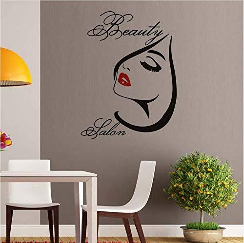Qthxqa Salon Make-Up Rote Lippen Abnehmbare Vinyl Wandaufkleber Für Wohnzimmer Wanddekorkunst Diy Decals Home Dekoration 56 * 75 Cm