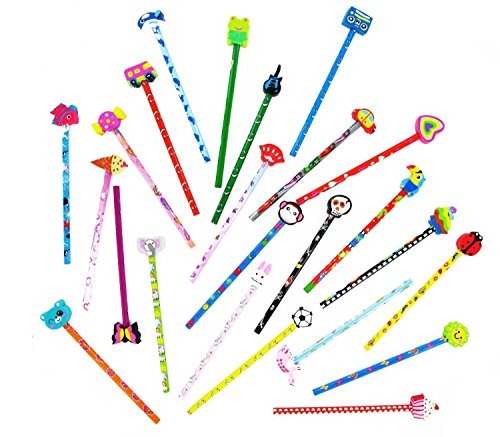 24-Quality-Funky-Pencils-With-Erasers-Shaped-Animals-Car-Bus-For-Kids-By-iMustbuy